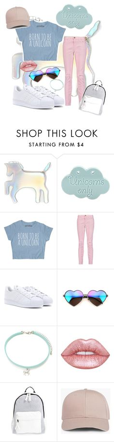 """""""💕😂unicorns"""" by skyenv ❤ liked on Polyvore featuring WithChic, Current/Elliott, adidas, Wildfox, Forever 21, Lime Crime and Poverty Flats"""
