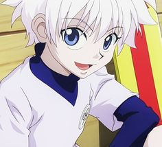 This is Killua, my new lock screen on my phone, and newly adopted son. He'll (quite literally) steal your heart. :) Hunter X Hunter
