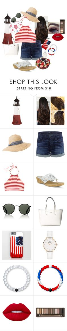 """""""4th of July look"""" by wbspater on Polyvore featuring DutchCrafters, Hat Attack, 3x1, J.Crew, Spring Step, Ray-Ban, GUESS, Daniel Wellington, Lokai and Lime Crime"""
