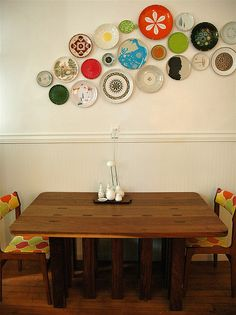 Love this!! I have one retro plate that would work....need a fee more if I ever want to do this!  //  kitchen by Bird in the Hand, via Flickr