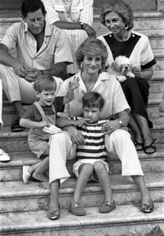 1987 -  Prince of Wales Charles, Queen Sophia of Spain, Princess Diana with prince William (stripes) and prince Harry