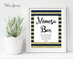 Mimosa bar, Mimosa Bar Sign, Mimosa Bar decor, Navy Blue and Gold Bridal Shower, Gold Bridal Shower Sign. Navy Bridal Shower, Bridal Shower Signs, Gold Bridal Showers, Bridal Shower Decorations, Navy Blue Decor, Mimosa Bar Sign, Champagne Bar, Bar Signs, Recipe Cards