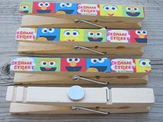 Sesame Street Decorated Clothespins 2 Double Sided by unicorn4960, $3.00