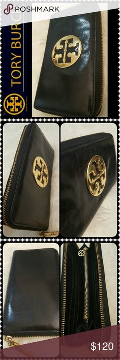 Tory Burch Leather Wallet Tory Burch Signature Leather Continental Zipper Wallet, Elegant In Gold Metal Tory Emblem with Gold Logo Zipper Pull, Opens to Multiple Compartments with Multiple Card Slots and Zipper Pocket with Tory Logo Zip Pull, Cary it with Such Class!!  PreLoved with Signs of Wear on Metal Emblem as Pictured (Scratch from Use), Leather in Very Good Condition, Approx Size 7.5x4x1 inches, Lovely Tory Collection! Tory Burch Bags Wallets