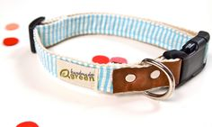 Seersucker stripe Dog Collar. Teal striped cotton seersucker fabric on hemp webbing. Fun Summer Collar.. $25.00, via Etsy.