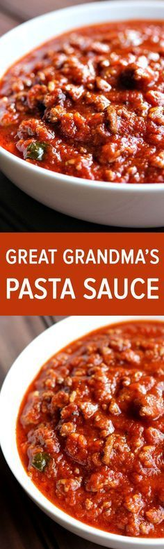 Great Grandma's pasta sauce. This pasta sauce is like liquid gold. It's the most delicious, rich, flavorful, pasta sauce I've ever had in my entire life. This pasta sauce was actually from Jason's great grandmother who came over from Italy. Italian Dishes, Italian Recipes, New Recipes, Cooking Recipes, Favorite Recipes, Italian Pasta, Dishes Recipes, Italian Spaghetti Sauce, Italian Sauces