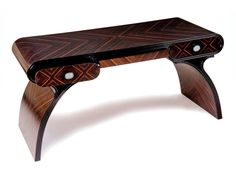 Art Deco inspired writing table shown in Macassar Ebony