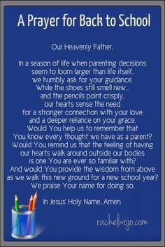 Prayer for back to shool
