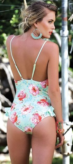 Mint floral one piece......could be a great new take on a women's bathing suite...and if you are with child