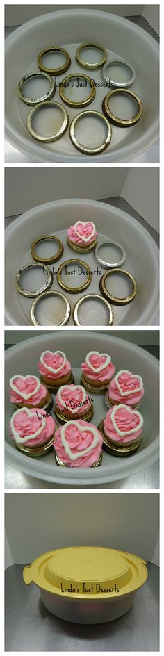 Easy delivery of cupcakes without a box. I use Mason jar rings and Tupperware containers.