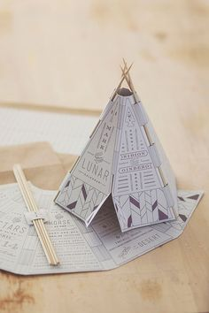 Paper craft is also great because it makes your DIY wedding invitations interactive. It doesn't just have to be classic origami either – look at this amazing teepee wedding invitation made with folded paper and cocktail sticks, it's amazing. Creative Wedding Invitations, Custom Invitations, Wedding Stationery, Event Invitations, Invites, Origami Wedding Invitations, Shower Invitations, Interaktives Design, Print Design