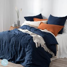 Bring effortless style to your bedroom with our gorgeous washed linen look quilt cover set in relaxing navy blue. This set can be paired perfectly with pecan, one of our top colours of the season! Navy Blue Bedding, Navy Blue Bedrooms, Blue Bedroom Decor, Bedroom Orange, Home Bedroom, Blue Duvet, Navy Master Bedroom, Navy Blue Decor, Blue Bed Linen