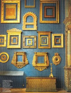 A collection of frames on exhibit at the Stefano Bardini Museum in Florence, Italy