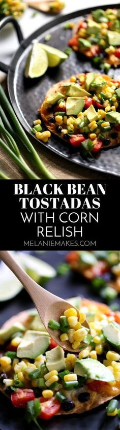 Dinner is just 20 minutes away with these bright and flavorful Black Bean Tostadas with Corn Relish! Perfect for Meatless Monday or any day you're short on time, this recipe is easily customized and can be prepped ahead to get dinner on the table in a flash.
