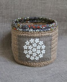 Crocheted basket by Plushka. Cute!