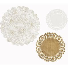 Doilies White and Gold - 24 Pack