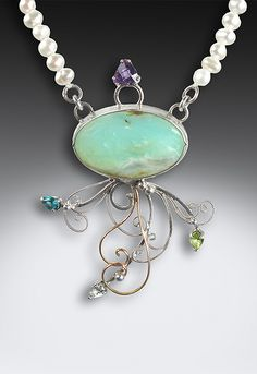 handcrafted filigree-sterling silver and gold filled with a scenic blue opal (peru). Accents in amethyst, blue topaz, white topaz and peridot. hung on fresh water pearls Blue Opal, White Topaz, Peridot, Amethyst, Opals, Jellyfish, Filigree, Turquoise Necklace, Jewerly