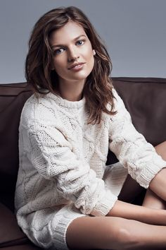 Long-sleeved, cable-knit sweater dress in a white wool blend with glittery knit elbow patches. | Warm in H&M