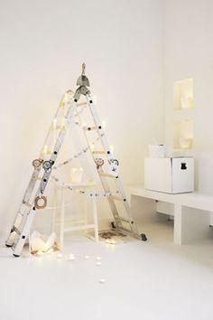 white Christmas tree   ladder
