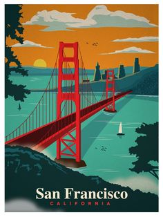 Vintage Travel Image of New Vintage San Francisco Print - Browse all products in the Travel Posters category from IdeaStorm Studio Store. Kunst Poster, Photo Vintage, Vintage Ski, San Francisco California, San Francisco Art, California California, Vintage Travel Posters, Beach Trip, Beach Travel