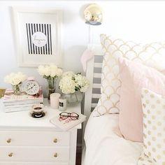 Gold-rosa-weiße Bettwäsche