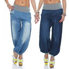 Damen Jeans Sommerhose Haremshose Muckhose Aladinhose Pluderhose Freizeithose