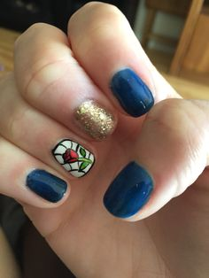 Beauty and the beast inspired nails!