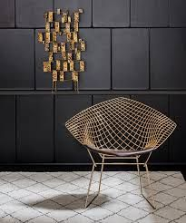 In celebration of the Harry Bertoia Centennial, the Bertoia Diamond Chair is now available in an gold-plated finish. (Bertoia would have been 100 in March Deco Furniture, Furniture Design, Furniture Dolly, Furniture Removal, Luxury Furniture, Interiores Art Deco, Design Bestseller, Modern Art Deco, Milan Design