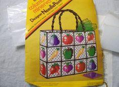 Plastic Needlepoint Canvas PURSE KIT - Vintage Columbia Minerva Craft Kit-NEW