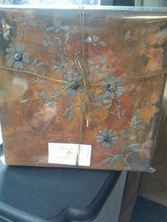 flaming flowers, original canvas art. $85.00, via Etsy.
