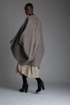 Vintage Issey Miyake Cocoon Coat and Plantation Linen Top and Skirt Set. Designer Clothing Dark Minimal Street Style Fashion