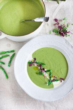 The lightest, creamiest Asparagus Soup ...so EASY and delicious!!   www.feastingathome.com