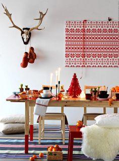 Déco table Noël rouge et blanc - 50 idées qui unifient le moderne et le traditionnel