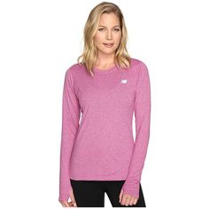 New Balance Heathered Long Sleeve Shirt (Jewel Heather) Women's Long... ($35) ❤ liked on Polyvore featuring activewear, activewear tops, fitted shirts, long sleeve workout shirts, pink shirts, workout shirts and long sleeve shirts