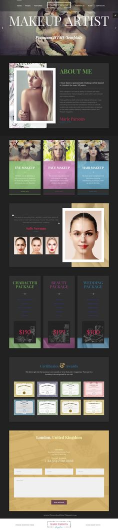 Elegant and beautiful #HTML5 template for #makeup artist, #beautician and #hair stylist portfolio showcase website with page builder and dashboard pages download now..