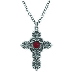 Fashion Christian Necklace - Studded Leafy Cross on SonGear.com - Christian Shirts, Jewelry