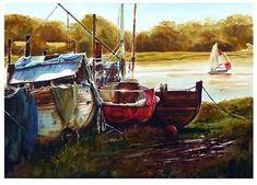 "Sailing, Skippool Creek by Graham Berry Watercolor ~ 19"" x 27"""