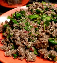 Lab Nua, a thailandese beef salad full of herbs. Mint, coriander, and lime, here we come.