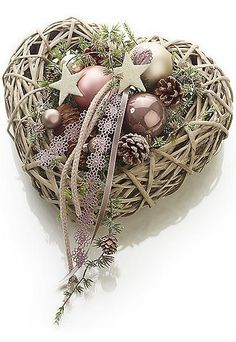 heart wreath, evergreen snd pinecones, ball and star ornaments, ribbon and lace: Lovely Christmas Advent Wreath, Christmas Hearts, Christmas Flowers, Pink Christmas, Xmas Ornaments, Holiday Wreaths, All Things Christmas, Handmade Christmas, Christmas Time