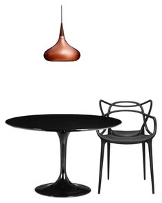 BLACK TULIP TABLE MASTER CHAIR COPPER ORIENT LAMP by suburbanmodern on Polyvore featuring interior, interiors, interior design, home, home decor, interior decorating, Zuo, Kartell and Lightyears