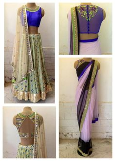 Unique blouses for sari / Saree / lengha / choli - Indian fashion - Arpita Mehta by imogene Indian Look, Indian Ethnic Wear, Indian Style, Choli Designs, Saree Blouse Designs, Indian Blouse, Indian Sarees, Indian Dresses, Indian Outfits