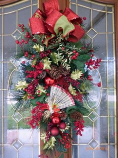 Christmas  Door Swag  Traditional Red and by JulieButlerCreations