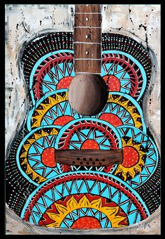 Retro guitar art, santa monica, abstract,music art,70's art,psychadelic,funky,hippie art,turquoise,coral,alternative,guitar painting. $18.00, via Etsy.