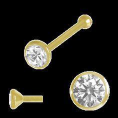 Piercing Schmuck Shop. Nasenpiercing Schmuck Nasenstecker 18 kt Gold mit Stein, Stopper
