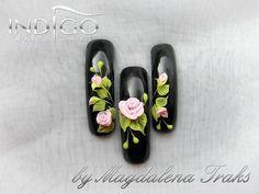 Try this mural design- leave remaining 2 nails solid black 3d Acrylic Nails, 3d Nail Art, 3d Nails, Uñas Fashion, 3d Nail Designs, Special Nails, Japanese Nail Art, Nail Candy, Diamond Nails