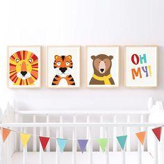 nursery art print set lions tigers bears oh my print  wild