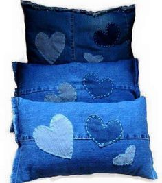 Denim heart pillows