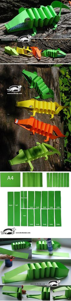 A4 Paper Alligator! Easy cutting instruction included. #kidscrafts #preschool (repinned by Super Simple Songs)