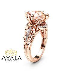 3.60ct Cushion Morganite Vintage Ring 14K Rose by AyalaDiamonds