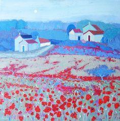 Roadside Poppies. Acrylic on canvas by Giuliana Lazzerini